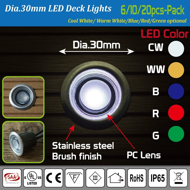 Set of 10 x 30mm IP65 LED Deck Lights