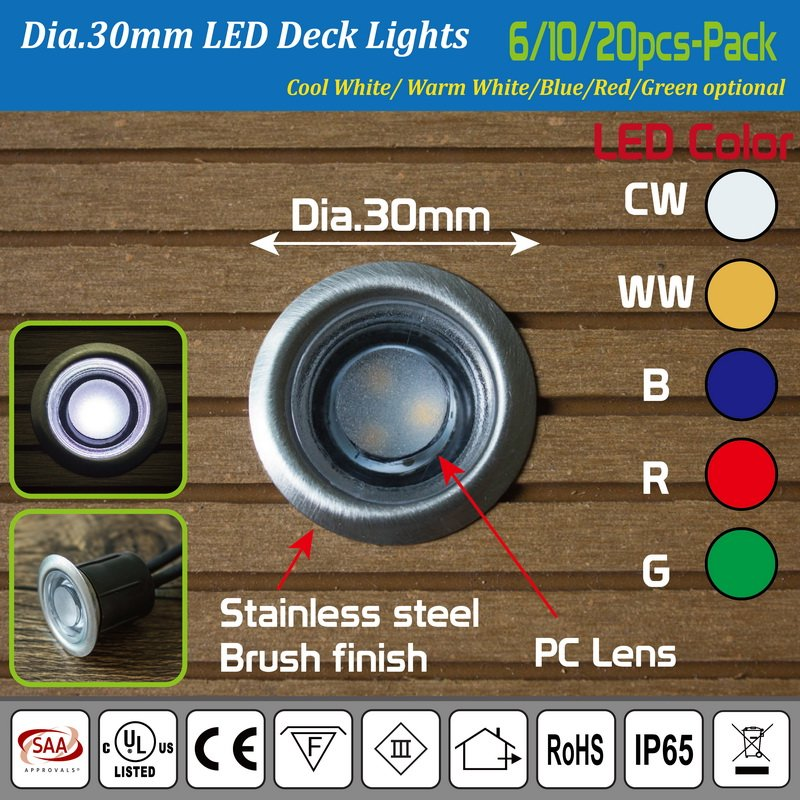 ... Pack of 10 x 30mm Waterproof IP65 Recessed Blue LED Deck Lighting ...